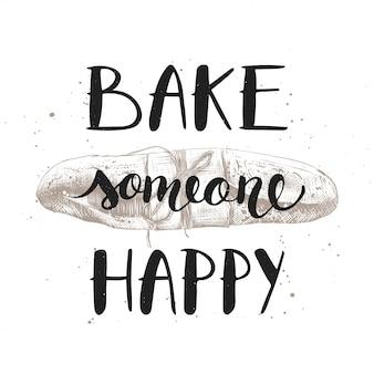 Assar alguém feliz com baguete gravada
