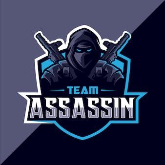 Assassino com arma mascote esport design de logotipo