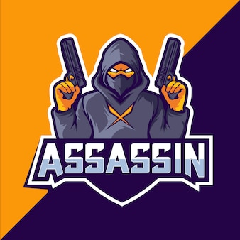 Assassino com armas mascote esport logotipo