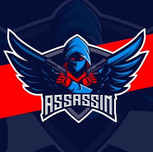 Assassino com asas e arma mascote esport logotipo