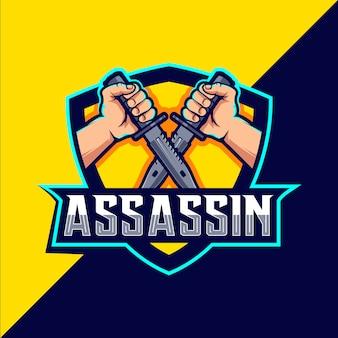 Assassino com faca mascote esport design de logotipo