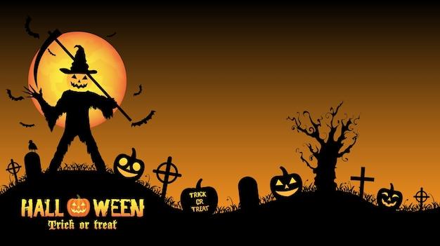 Assassino de abóbora de halloween em um cemitério