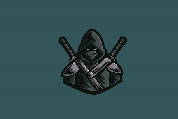 Assassino de sombra e logotipo de esportes