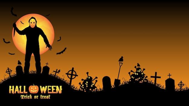 Assassino em série do dia das bruxas em um cemitério