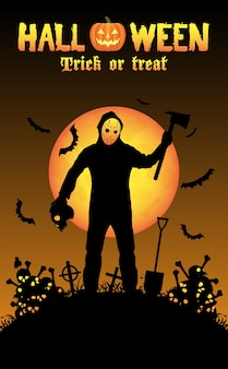Assassino em série psico com máscara e machado no cemitério à noite