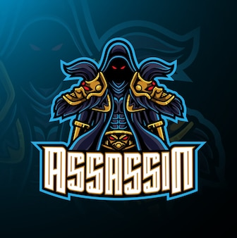 Assassino esporte mascote design de logotipo