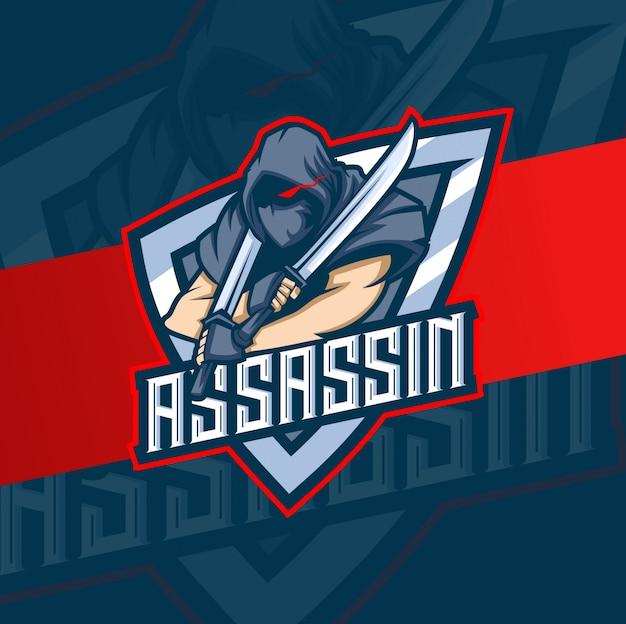 Assassino mascote esport logotipo