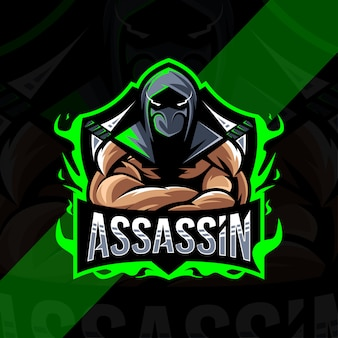 Assassino mascote logotipo esport design