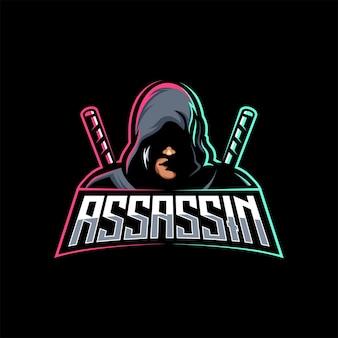 Assassino ninja com espada logotipo de jogo mascote modelo de esporte