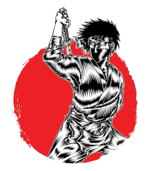 Assassino ninja monocromático