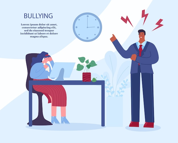 Assédio no trabalho. chefe zangado grita com o funcionário. mulher sentada e chorando. ilustração vetorial com lugar para o seu texto.