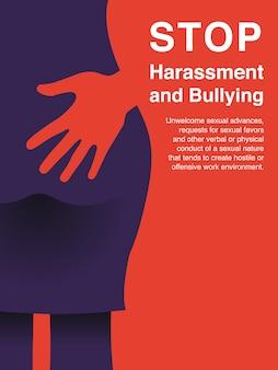 Assédio sexual e cartaz de conceito de assédio moral no local de trabalho.