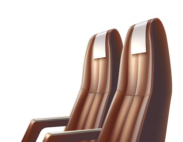 Assento de couro de passageiro de avião, ônibus ou carro