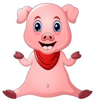 Assento de desenhos animados de porco bonito