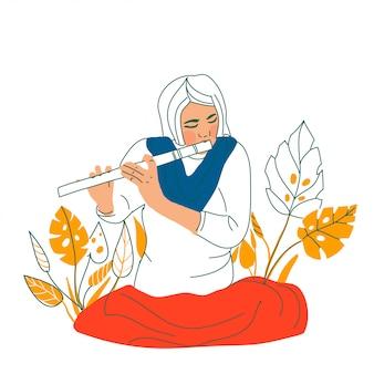 Assento de menina e tocar flauta