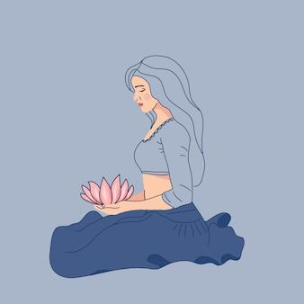 Assento de mulher bonita em meditação