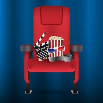 Assento de teatro de cinema de cinema vermelho realista com tira de filme