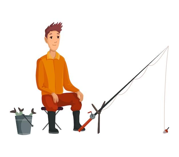 Assento novo do pescador com vara de peixes e mordida de espera. peixes ridos em um balde. pesca bem sucedida
