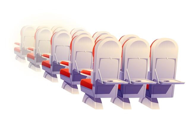 Assentos de avião vista traseira, cadeiras de classe econômica