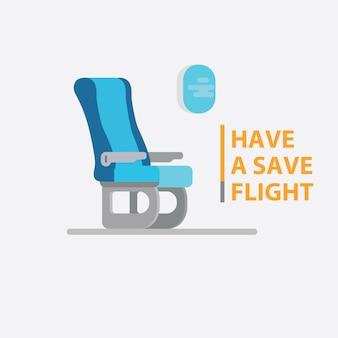 Assentos de passageiros de avião e janela lateral