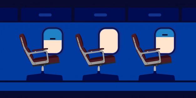 Assentos de passageiros de cabine de avião