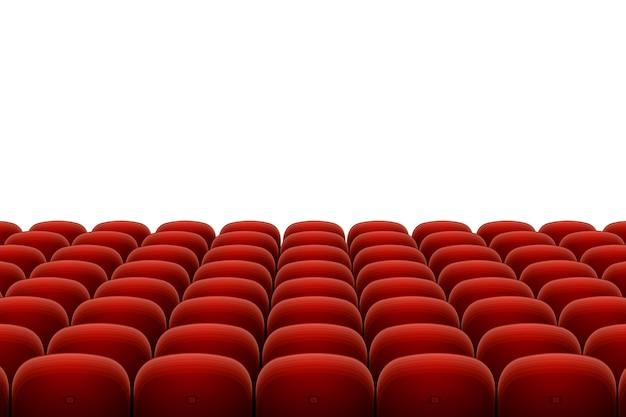 Assentos de teatro isolados no branco