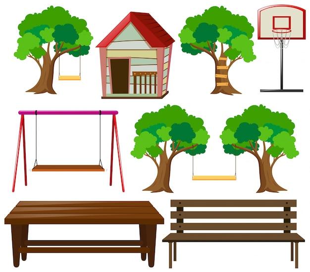 Assentos e coisas no jardim