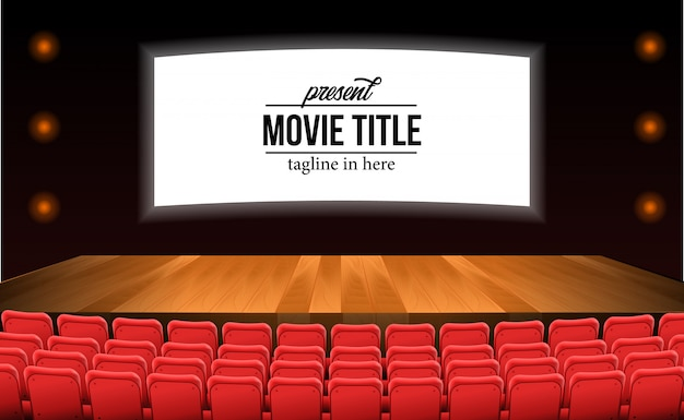 Assentos vermelhos vazios no filme do teatro com o assoalho da madeira do estágio. modelo de título de filme