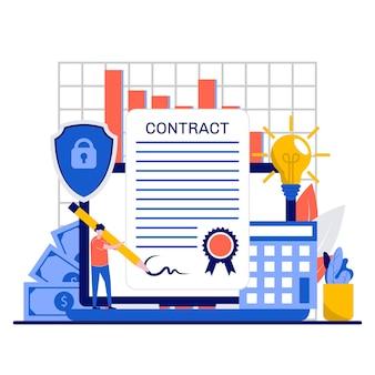 Assinando um conceito de contrato com o personagem de pequenos empresários assinam um acordo online
