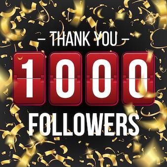 Assinantes de 1000 seguidores, banner de cartão de agradecimento.
