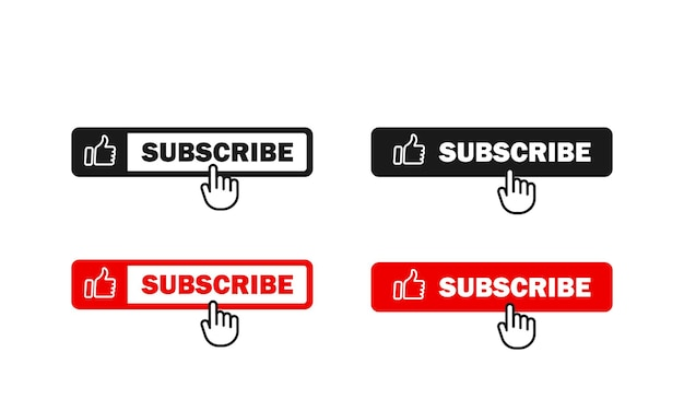 Assinar o conjunto de botões. usado para canal. com cursor de mão. conceito de mídia social.