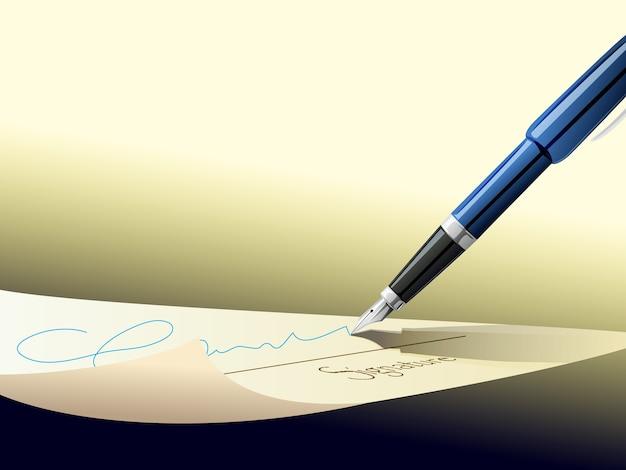 Assinatura de assinatura de caneta em papel de contrato