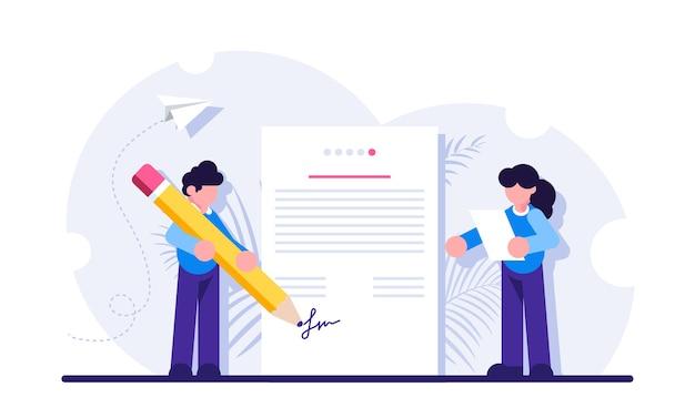 Assinatura de contrato bilateral, realização de negócios, celebração de acordo ou tratado, signatário.