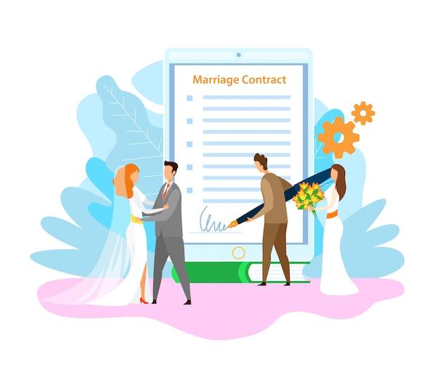 Assinatura de contrato de casamento plano