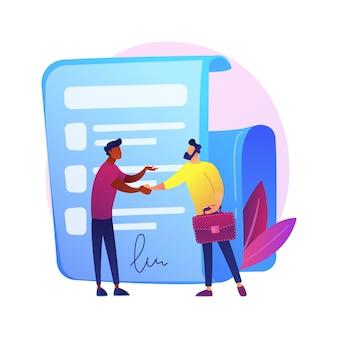 Assinatura de contrato. documento oficial, acordo, compromisso de negócio. personagens de desenhos animados de empresários apertando as mãos. contrato legal com assinatura.