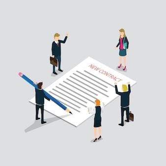 Assinatura de contrato isométrica web plana 3d