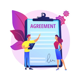 Assinatura de documentos. acordo de parceria, consultoria de negócios, acordo de trabalho. cliente e assistente de redação de personagens de desenhos animados