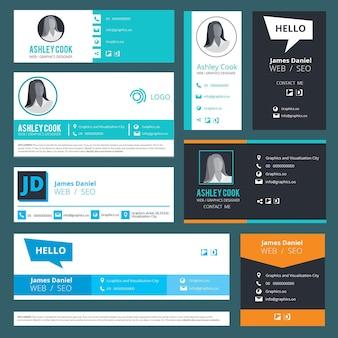 Assinatura de e-mail. modelo de design de interface de usuário de cartões de visita de autoria de e-mails.