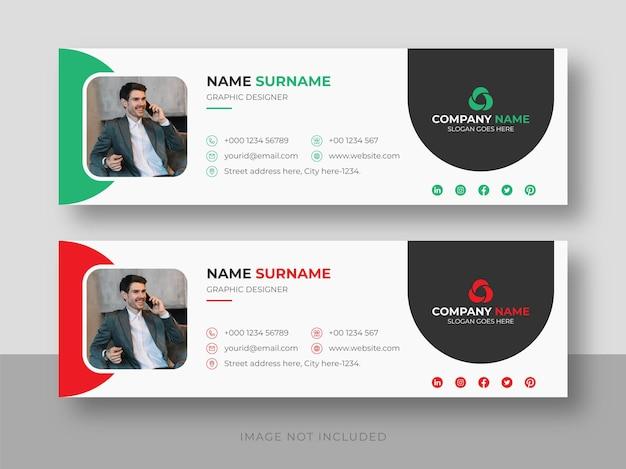 Assinatura de e-mail ou rodapé de e-mail e mídia social pessoal modelo de design de capa do facebook