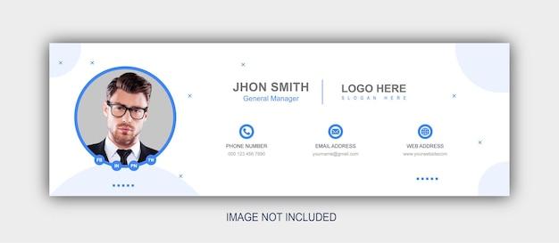 Assinatura de e-mail ou rodapé de e-mail e modelo de capa de mídia social
