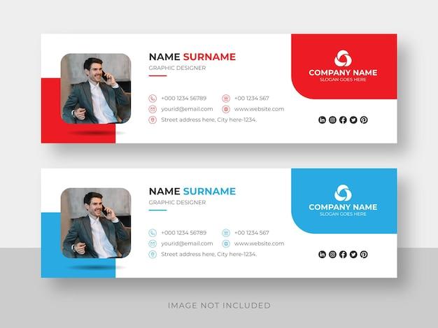 Assinatura de e-mail ou rodapé de e-mail e modelo de design de capa do facebook para mídia social pessoal