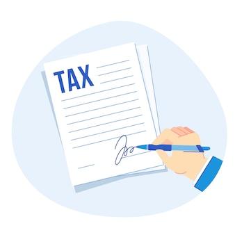 Assinatura de formulário fiscal. relatório de impostos corporativos, empresas financiam ilustração de contabilidade e tributação