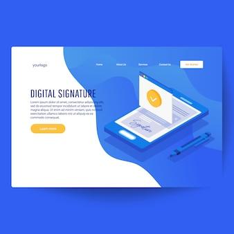 Assinatura digital. assinatura de contrato isométrica web plana 3d