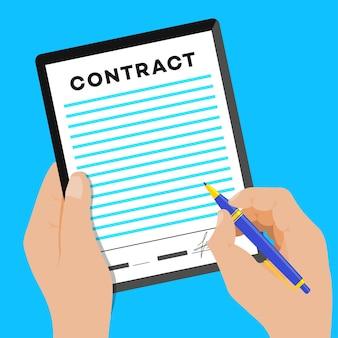 Assine a política de privacidade do conceito do contrato e os termos e condições do contrato