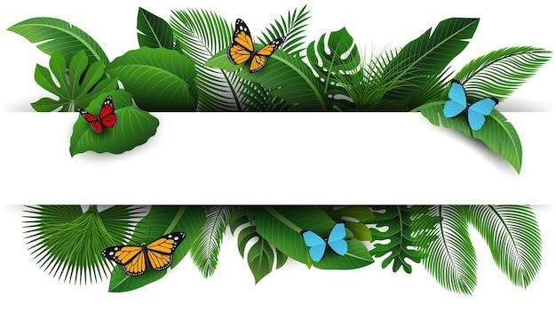 Assine com espaço do texto das folhas e das borboletas tropicais.