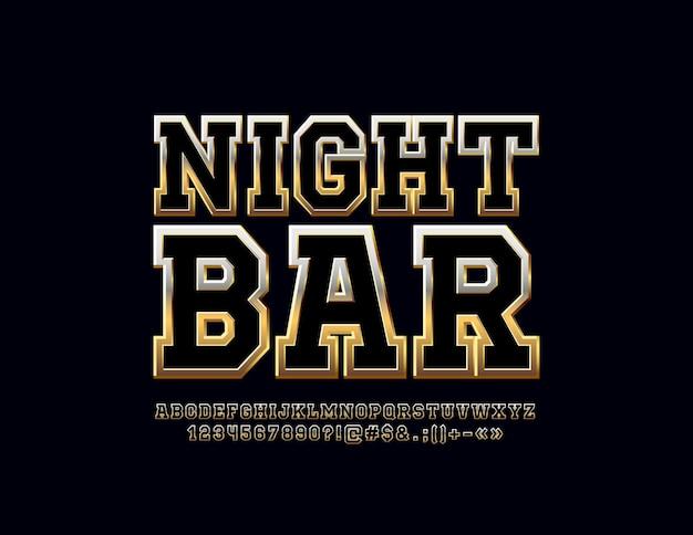 Assine com texto night bar. fonte chique preta e dourada. letras, números e símbolos metálicos do alfabeto.