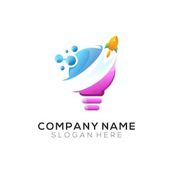 Assine foguete logotipo design ilustração premium