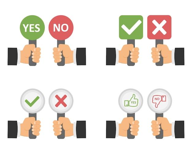 Assine na mão sim ou não.