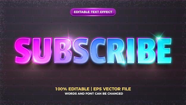 Assine o efeito de texto editável em 3d com brilho brilhante