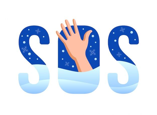 Assine sos. mão pede ajuda em uma terrível geada. coberto de neve.